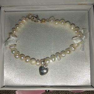 Mud Pie Heart Freshwater Pearl Bracelet Baby Girl